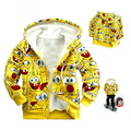 Cartoon Kids boys girls SpongeBob SquarePants  Fleece hoodies coat Sweater children hooded Sweatshirts Zip hoody jacket(China (Mainland))