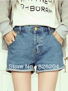 2013 spring and summer new Women Korean street shooting wild retro package hip straight flanging do the old denim shorts(China (Mainland))