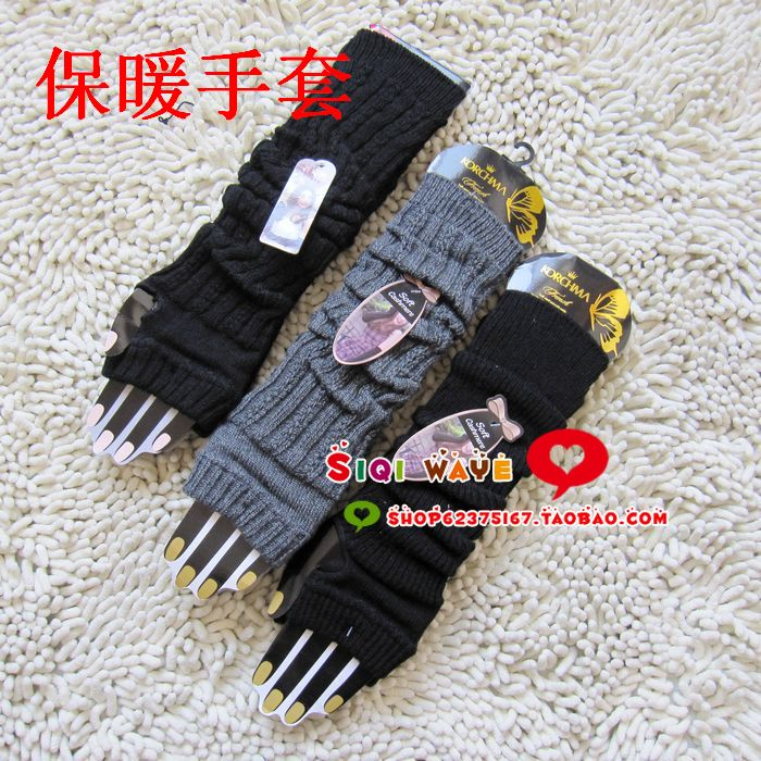 Women's spring gulps half gloves yarn arm sleeve oversleeps gloves long design thermal lucy refers to semi-finger knitted female(China (Mainland))