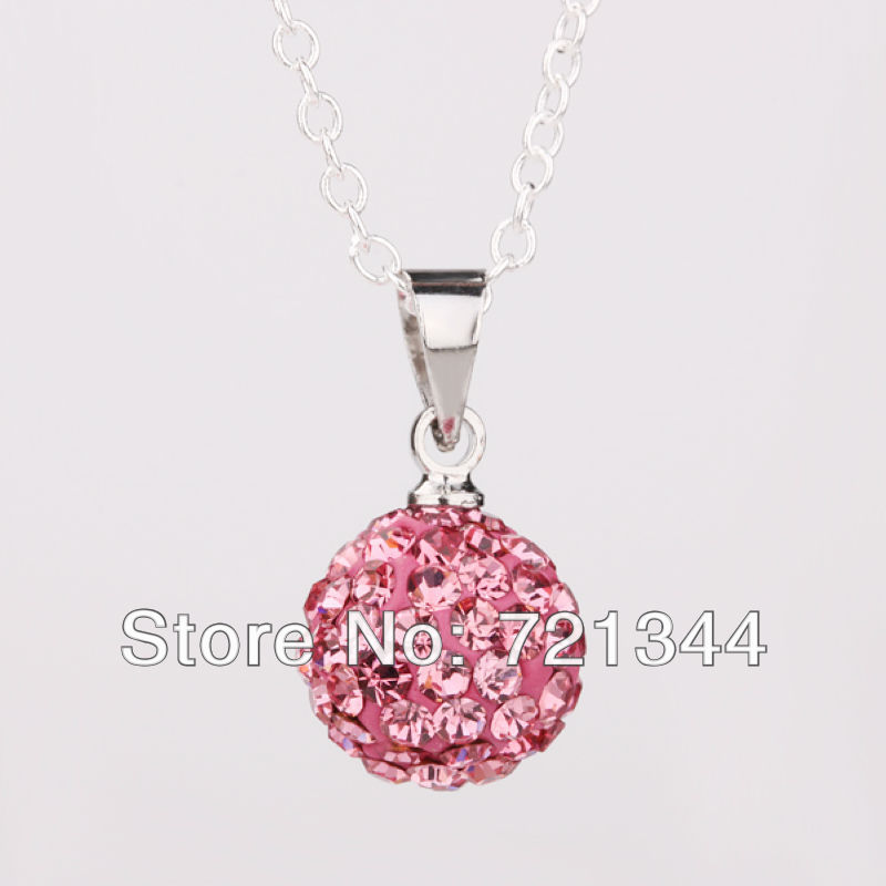 Cheapest!shamballa jewelry ! 10mm pink Disco Pave Crystal Ball Pendant .Silver Plate Chain Shamballa Necklace Wholesale P001(China (Mainland))