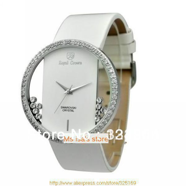 Free shipping wholesale personality,avantgarde fashion design Royal crown 6110 unique dial rhodium plating white leather watch(China (Mainland))