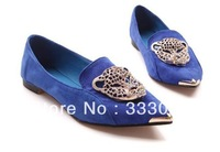 2013 Mushrooms Street leopard head candy-colored shoes new single shoes Japanese wind pointed flat flat heel women shoes