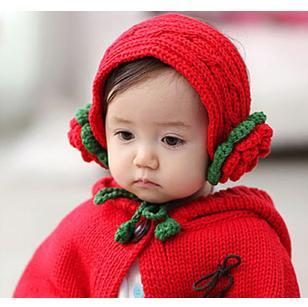 Female child yarn with a hood cloak cape baby gloves piece set princess hair band baby hat(China (Mainland))