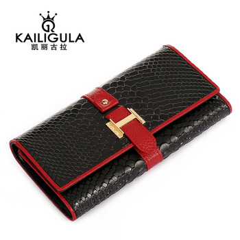 Wallet female long design three fold wallet cowhide women's wallet zipper card holder k712
