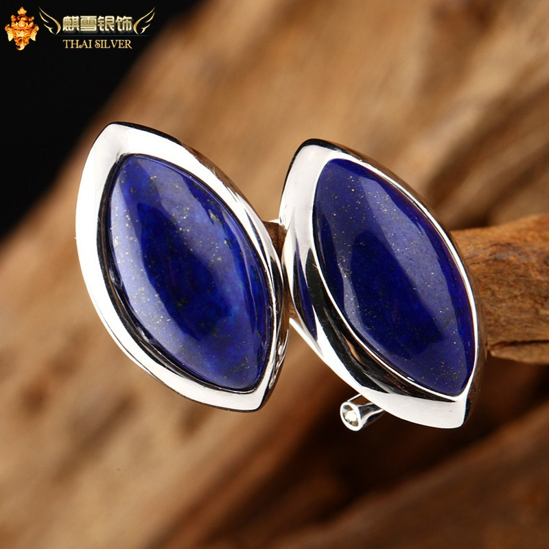 925 pure natural lapis lazuli silver jewelry rhombus stud earring in ear Women(China (Mainland))