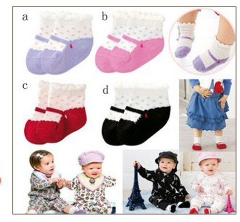 Free shipping Wholesale Baby Dot Soft Short Socks, Girls/ Boys Christmas Footwear socks/ 4 colors/ 12pairs/lot infant socks(China (Mainland))