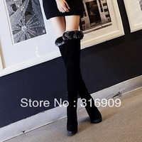 free shiping 2013 winter new arrival fashion genuine leather nubuck leather over-the-knee 25pt wedges high-heeled shoes boots C1
