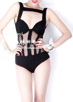 New sexy European and American nightclub bar ds perspective mosaic mesh leotard costumes singer lead dancer clothing