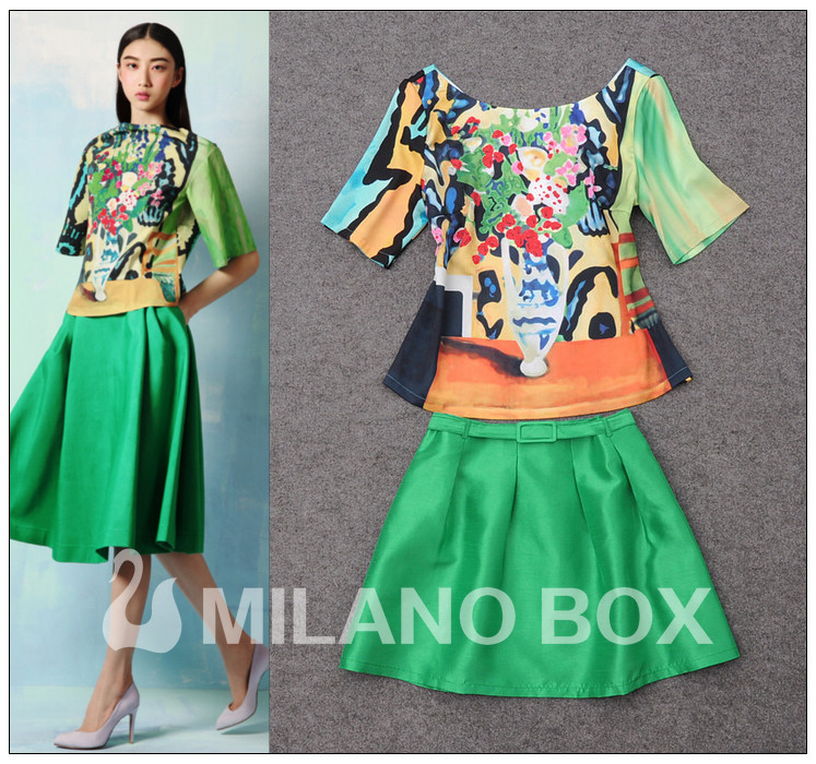 Free Shipping 2013 Summer New Arrival Runway Fashion Art Vase Printed Halter Top+ Silk Skirt Lady's Clothing Dress Suit Girls(China (Mainland))