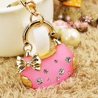 Super hot fashion bags pink crystal key chain women's car keychain pendant