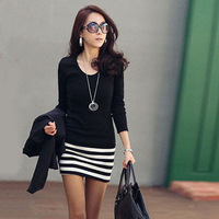 New Arrival 2013 Autumn fashion OL Slim Sexy striped patchwork skirt ,Long sleeve style women dress ,Fast shipping D116
