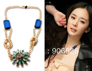 Womens Imitation Gemstone Pendant Statement Necklaces Flower Jewelry Necklace Free Shipping X003