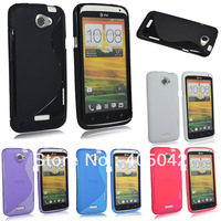 Free shipping  Clear Soft TPU Gel S-Line Curve SKin Cover Case for HTC ONE X Black Blue Pink Purple White
