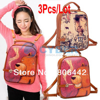 3Pcs/Lot New Style Multifunction Women's Graffiti Pattern Retro Vintage Backpack Shoulder Bag Handbag 2Colors 14059