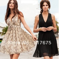 women dress snakeskin pattern knee-length sleeveless chiffon dress serpentine skirt Size: XS S M L XL XXL