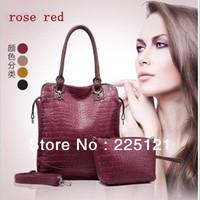 New Stylish Crocodile Pattern Genuine Leather Women Handbags Brand Ladies Totes Bags Popular Handbags Free Shipping