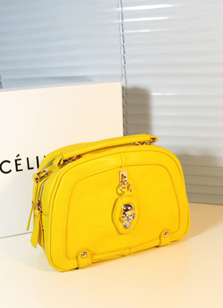 Small fresh lemon yellow neon color skull handbag cross-body bag small double layer zipper bag women's handbag shoulder bag(China (Mainland))