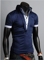 2013 men faux two piece fashion t-shirts tops stand collar casual V neck Shirt tees classic navy bulu/grey color plus size XXL