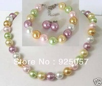 Set 12mm multicolor shell pearl necklace bracelet Fashion jewelry