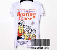 Track Ship+New Vintage Retro Cool Rock&Roll Punk T-shirt Top Tee Family Learning Boating Course