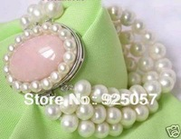 3Rows 7-8mm White Natural Cultured Pearl bracelet 8inch Fashion jewelry
