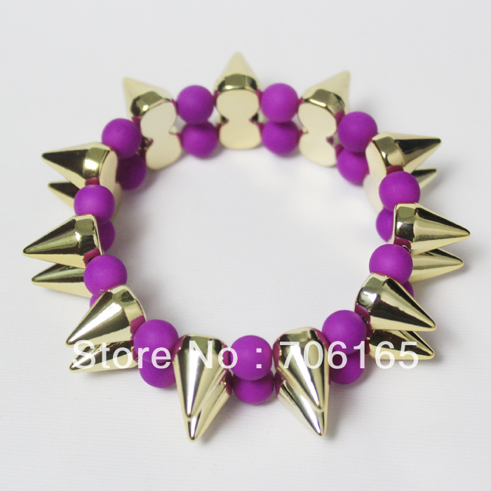 PURPLE- Golden CCB Spikes with Rubber Painting 8 MM Arcrylic Beads Stretch Bracelet, double Layer of spikes(China (Mainland))