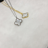 Fashion 316L Stainless Steel Gold Plated with White Shell Four leaf clover Women Necklaces Pendants