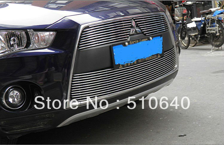2010-2012 Mitsubishi Outlander High quality stainless steel Front Grille Around Trim Racing Grills Trim hhj(China (Mainland))