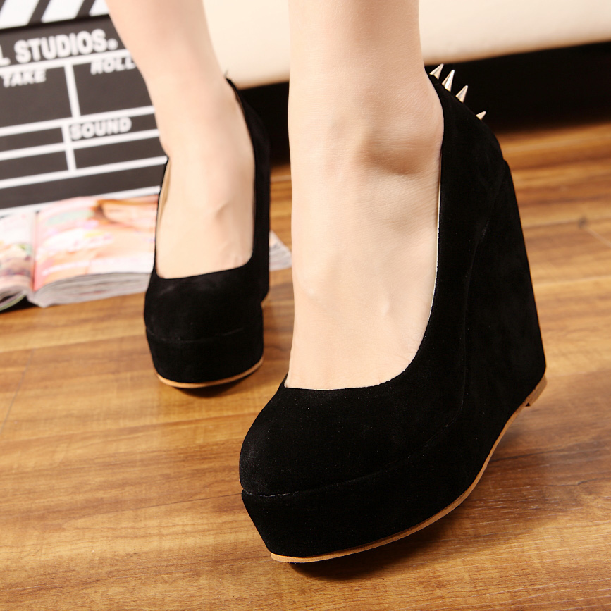 Free shipping girls fashion high heels for women shoes woman 2013 spring new arrive platform pumps wedges rivets spikes SXX32193(China (Mainland))