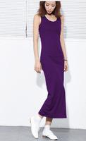 2012 long design 100% women's cotton tank dress slim one-piece dress o-neck slim skirt straight full dress