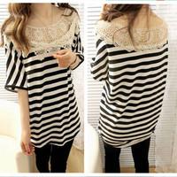 2013 fashion loose large size lace stripe o-neck short-sleeve women t shirt clothing WC0224