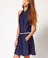 Free Shipping women dress Cowboy tannins cotton lapel sleeveless dark blue dress with belt Size: XS S M L XL XXL