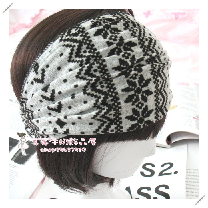 Fashion bohemia ultra wide grey knitted headband bandanas(China (Mainland))