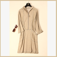 Sosolin at home travel set comfortable toweled hooded three quarter sleeve mustard yellow one-piece dress