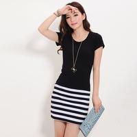 One-piece dress summer 2013 summer women's plus size short-sleeve patchwork fashion slim stripe skirt