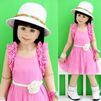 2013 baby summer girls summer clothing child pleated beading chiffon princess one-piece dress tank dress