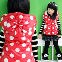 2013 baby winter children's clothing autumn and winter polka dot berber fleece child thickening cotton vest waistcoat
