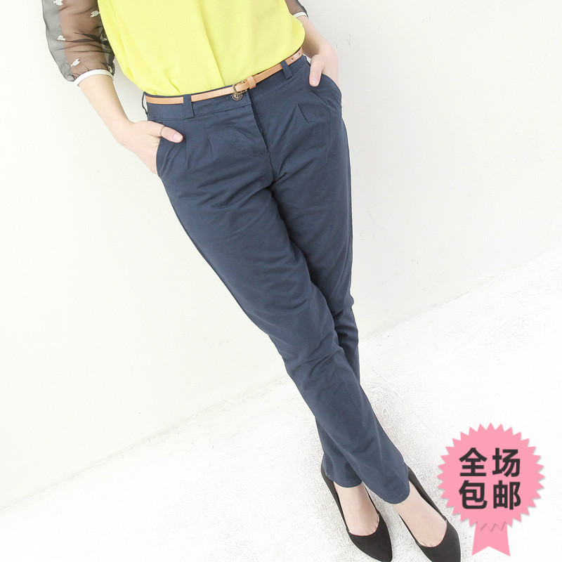 Wholesale price 2013 spring all-match formal casual mid waist slim solid color straight trousers female ae234 Free shipping(China (Mainland))