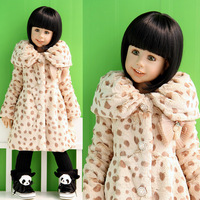 Big 2013 children's clothing winter female child artificial leather child medium-long cotton-padded leopard print overcoat skirt