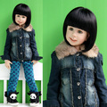 2012 baby winter children's clothing autumn and winter female child rabbit fur plus cotton coveredbuttons child denim outerwear