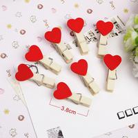 Korea stationery decoration small wooden clip love clip photo clip snacks hemp rope 10