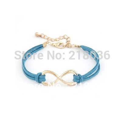 20pcs Antiques Gold Tone Infinity Charm Friendship Bracelet Blue Leather Cord DIY Metal Making Jewelry M1652(China (Mainland))