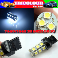 DHL FREE + Wholesale 300pcs/lot!!! T20 7440 7443 18 SMD 5050 Car Stop Backup light Turn signal light White Blue 12V#LD05