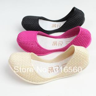 Best Selling!!Crystal nest plastic shoes jelly shoes hole shoes cutout flat sandals Free Shipping(China (Mainland))