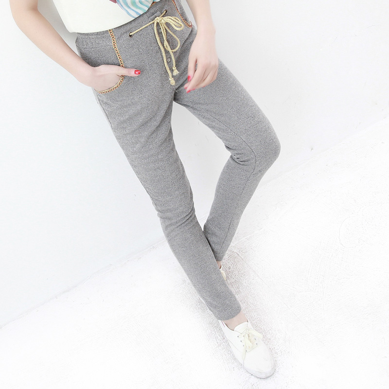 Fatory price 2013 spring casual slim waist blending bordered skinny pants trousers female ae230 Free shipment(China (Mainland))