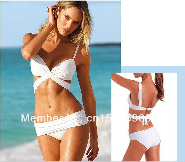Sexy Women Push-up Padded Swimwear Swimsuit Beachwear Biniki set 6 pcs/lot 3 Sizes Black White(China (Mainland))