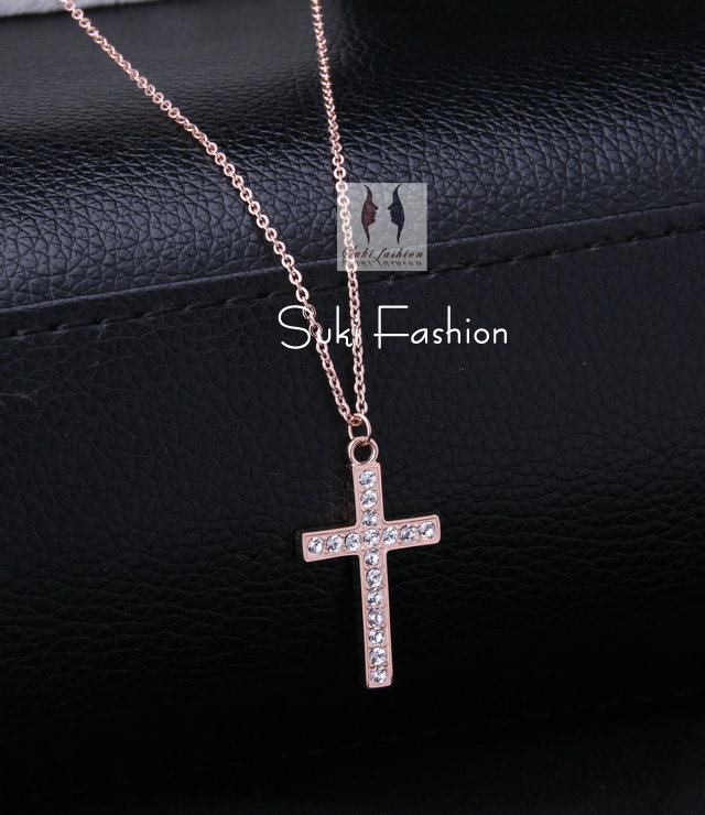 High Fashion Rose Gold Stainless Steel Rhinestone Cross Necklace, Cross Pendant Necklace for women. free shipping(China (Mainland))