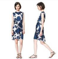Free Shipping new women Blue pattern print dress sleeveless lace dress waist split back