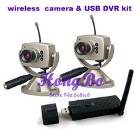 Free Shipping 2.4G Wireless USB DVR(1pcs) ,  mini wireless Camera(2pcs) Kit Security System