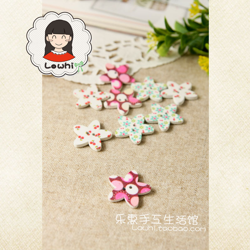 Accessories handmade diy material child button five-pointed star five petal flower colored drawing wood button 3(China (Mainland))